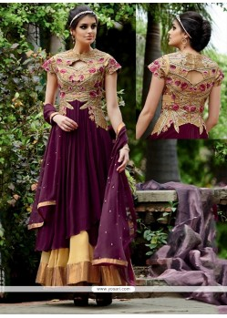 Flamboyant Wine Georgette Anarkali Salwar Suit