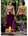 Flamboyant Wine Georgette Anarkali Salwar Suit