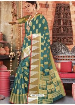 Teal Designer Party Wear Cotton Handloom Sari