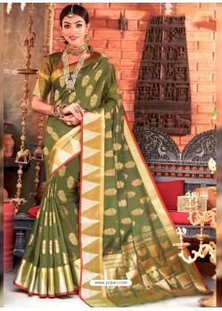 Mehendi Designer Party Wear Cotton Handloom Sari