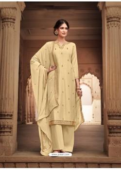 Cream Heavy Designer Party Wear Cotton Silk Palazzo Salwar Suit