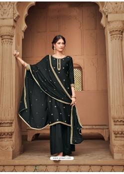 Black Heavy Designer Party Wear Cotton Silk Palazzo Salwar Suit