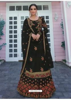 Black Heavy Designer Party Wear Satin Georgette Palazzo Salwar Suit