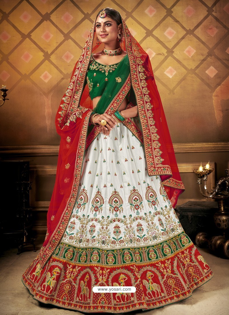 White Elegant Heavy Embroidered Designer Bridal Lehenga Choli