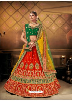 Red Elegant Heavy Embroidered Designer Bridal Lehenga Choli