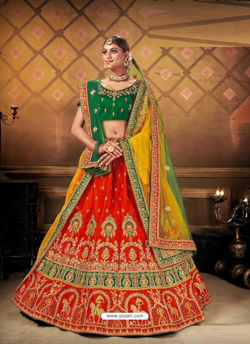 Red Elegant Heavy Embroidered Designer Bridal Lehenga Choli