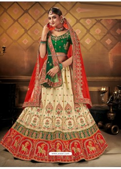 Cream Elegant Heavy Embroidered Designer Bridal Lehenga Choli