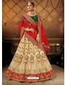 Cream Elegant Heavy Embroidered Designer Bridal Lehenga Choli