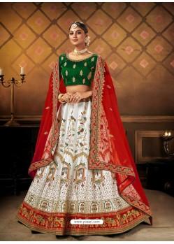 White Elegant Heavy Embroidered Designer Bridal Lehenga Choli