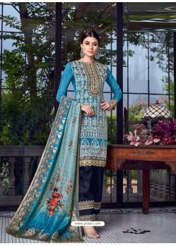 Blue Dazzling Designer Lakhnavi Embroidered Silk Salwar Suit