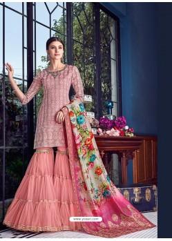 Pink Dazzling Designer Lakhnavi Embroidered Silk Salwar Suit