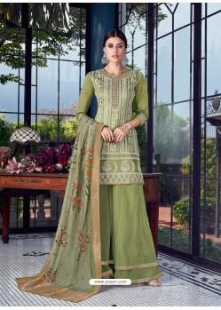 Green Dazzling Designer Lakhnavi Embroidered Silk Salwar Suit