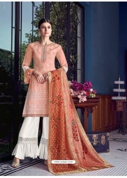 Light Orange Dazzling Designer Lakhnavi Embroidered Silk Salwar Suit