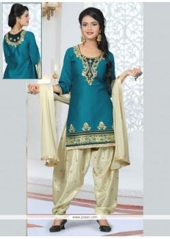 Divine Embroidered Work Designer Patiala Salwar Kameez