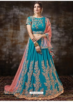 Blue Gorgeous Heavy Designer Wedding Wear Silk Lehenga Choli