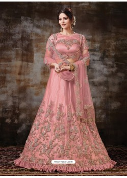 Pink Gorgeous Heavy Designer Wedding Wear Silk Lehenga Choli