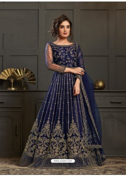 Navy Blue Designer Embroidered Net Party Wear Wedding Suit