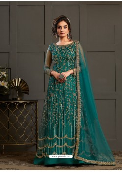 Teal Designer Embroidered Net Party Wear Wedding Suit