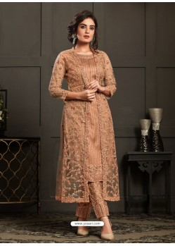 Beige Designer Embroidered Net Party Wear Wedding Suit