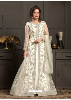 White Designer Embroidered Net Party Wear Wedding Suit