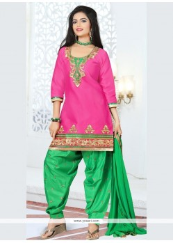 Gorgonize Hot Pink Cotton Designer Patila Salwar Suit