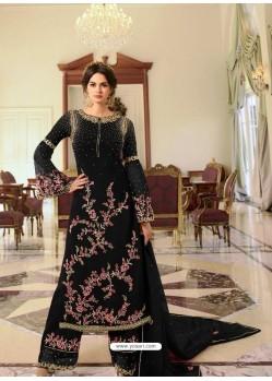 Black Heavy Designer Party Wear Georgette Palazzo Salwar Suit