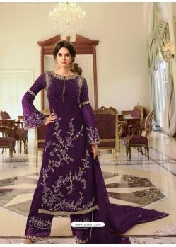 Purple Heavy Designer Party Wear Georgette Palazzo Salwar Suit