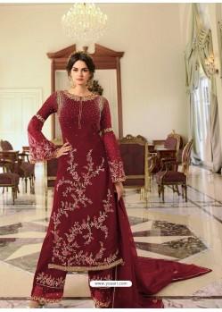 Maroon Heavy Designer Party Wear Georgette Palazzo Salwar Suit