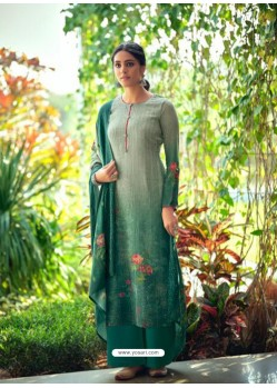 Dark Green Designer Wear Maslin Palazzo Salwar Suit