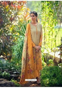 Mustard Designer Wear Maslin Palazzo Salwar Suit