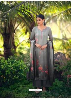 Grey Designer Wear Maslin Palazzo Salwar Suit