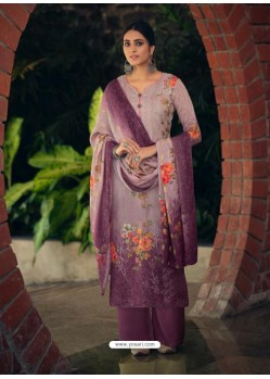 Purple Designer Wear Maslin Palazzo Salwar Suit