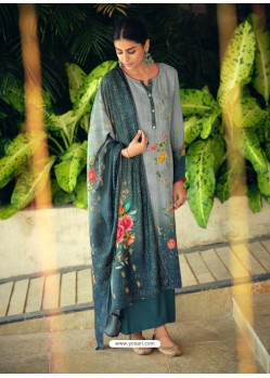 Teal Designer Wear Maslin Palazzo Salwar Suit