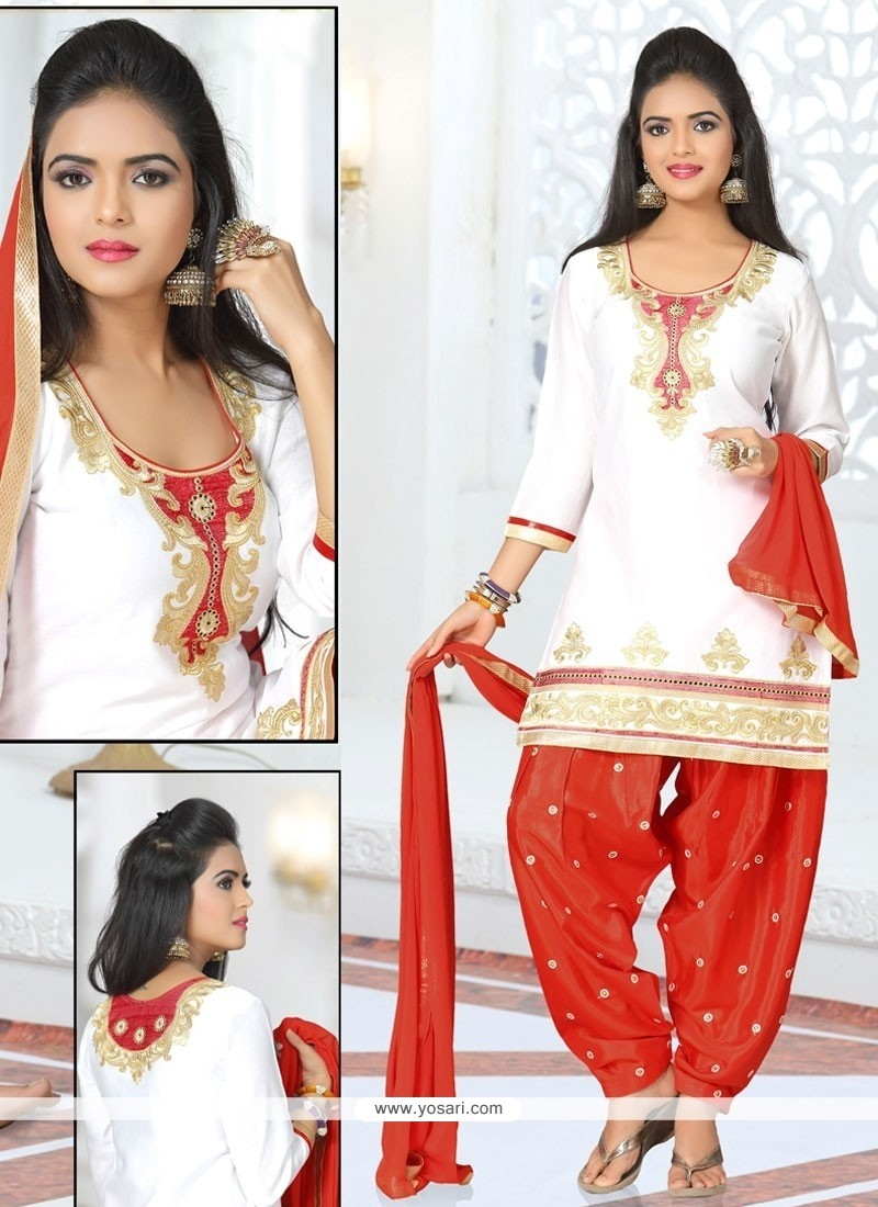 Elegant Zari Work Cotton Off White Designer Patiala Suit