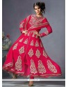 Sumptuous Resham Work Hot Pink Anarkali Salwar Kameez