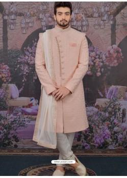 Dusty Pink Readymade Designer Indowestern Sherwani For Men