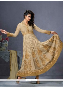 Ethnic Cotton Beige Embroidered Work Anarkali Salwar Suit