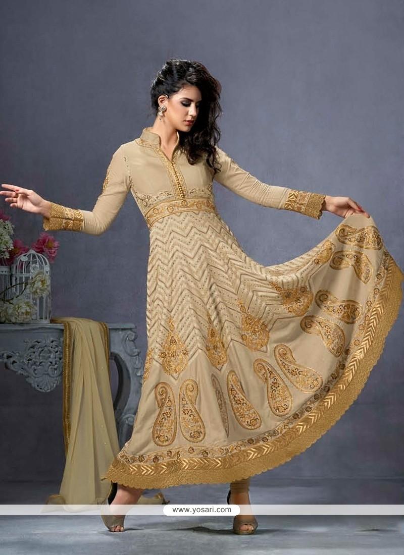 Ethnic Cotton Beige Embroidered Work Anarkali Salwar Suit