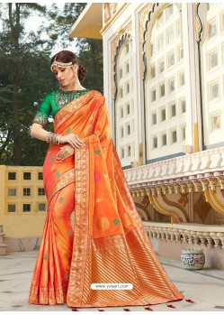 Orange Magnificent Designer Soft Silk Wedding Sari