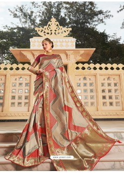 Beige Magnificent Designer Soft Silk Wedding Sari