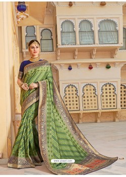 Green Magnificent Designer Soft Silk Wedding Sari