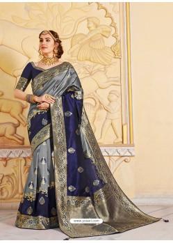 Grey Magnificent Designer Soft Silk Wedding Sari