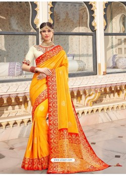 Yellow Magnificent Designer Soft Silk Wedding Sari