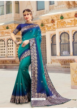 Turquoise Magnificent Designer Soft Silk Wedding Sari