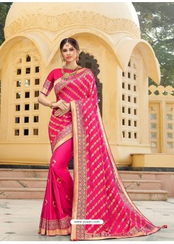 Hot Pink Magnificent Designer Soft Silk Wedding Sari
