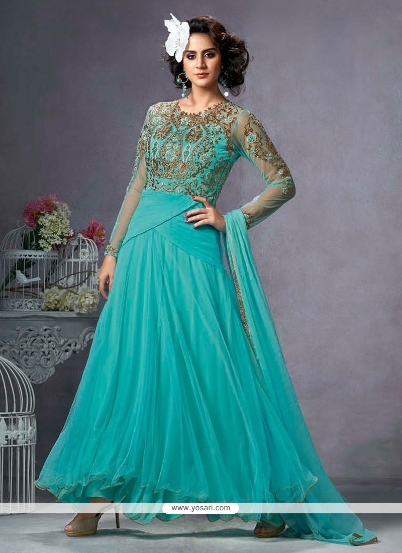 Ethnic Resham Work Net Turquoise Anarkali Suit