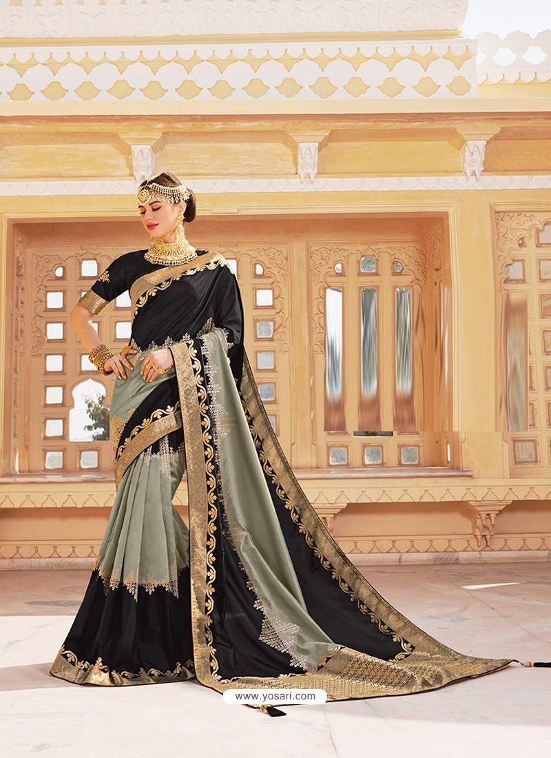 Black Magnificent Designer Soft Silk Wedding Sari