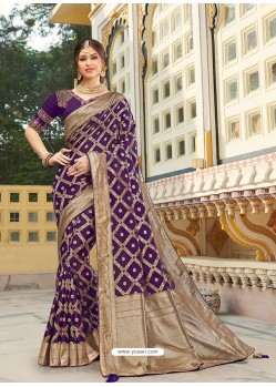 Purple Magnificent Designer Soft Silk Wedding Sari