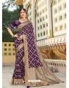 Purple Magnificent Designer Soft Silk Wedding Sari