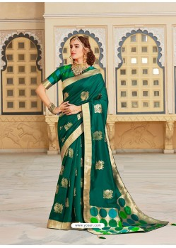 Dark Green Magnificent Designer Soft Silk Wedding Sari